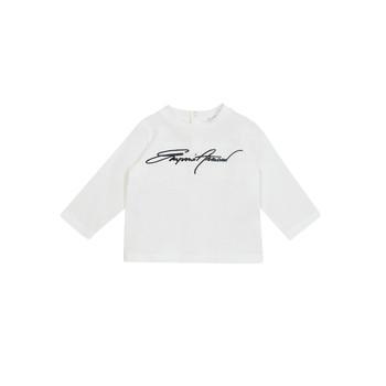 tekstylia Chłopiec T-shirty z długim rękawem Emporio Armani 6HHTJN-1JTUZ-0101 Biały