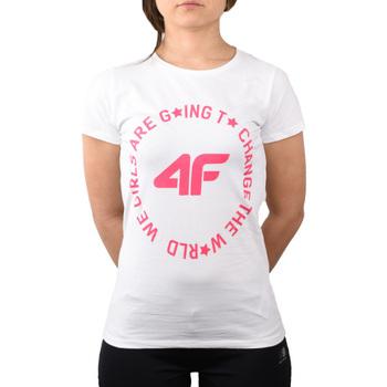 tekstylia Dziecko T-shirty i Koszulki polo 4F Girl's T-shirt HJL20-JTSD013A-10S Białe