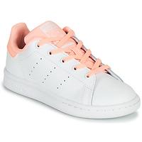 Buty Dziewczynka Trampki niskie adidas Originals STAN SMITH C Biały / Różowy