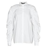 tekstylia Damskie Koszule Karl Lagerfeld POPLIN BLOUSE W/ GATHERING Biały
