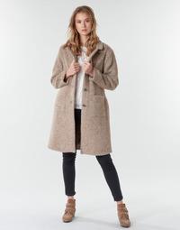 tekstylia Damskie Płaszcze Cream AMELIA COAT Beżowy