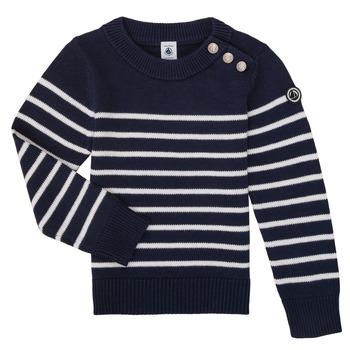 tekstylia Dziecko Swetry Petit Bateau LOX Marine / Biały