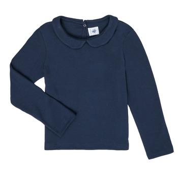 tekstylia Dziewczynka T-shirty z długim rękawem Petit Bateau LOVING Marine