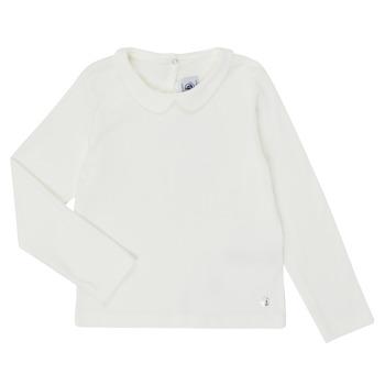 tekstylia Dziewczynka T-shirty z długim rękawem Petit Bateau LOVING Biały