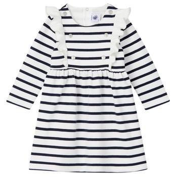 tekstylia Dziewczynka Sukienki krótkie Petit Bateau LEVRIER Biały / Marine