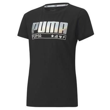 tekstylia Dziewczynka T-shirty z krótkim rękawem Puma ALPHA TEE 165 Czarny
