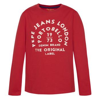 tekstylia Chłopiec T-shirty z długim rękawem Pepe jeans ANTONI Czerwony