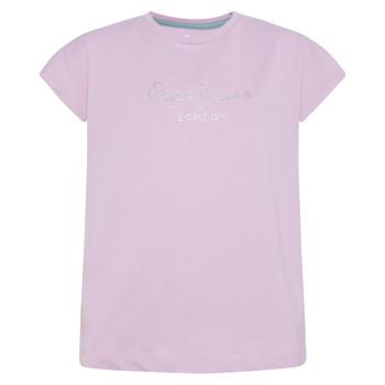 tekstylia Dziewczynka T-shirty z krótkim rękawem Pepe jeans NURIA Niebieski