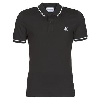 tekstylia Męskie Koszulki polo z krótkim rękawem Calvin Klein Jeans TIPPING SLIM POLO Czarny