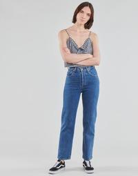 tekstylia Damskie Jeansy straight leg Levi's RIBCAGE STRAIGHT ANKLE Niebieski