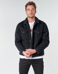 tekstylia Męskie Kurtki jeansowe Levi's TYPE 3 SHERPA TRUCKER Czarny