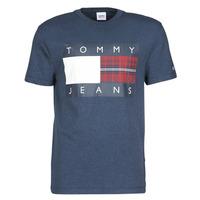 tekstylia Męskie T-shirty z krótkim rękawem Tommy Jeans TJM PLAID CENTRE FLAG TEE Marine