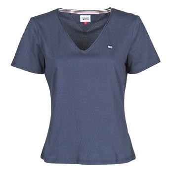 tekstylia Damskie T-shirty z krótkim rękawem Tommy Jeans TJW SLIM JERSEY V NECK Marine