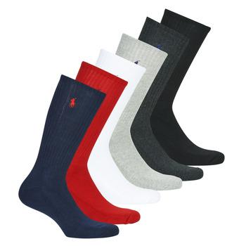 Dodatki Męskie Skarpety Polo Ralph Lauren ASX110 6 PACK COTTON Czarny / Czerwony / Marine / Szary / Szary / Biały