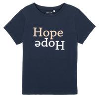 tekstylia Dziewczynka T-shirty z krótkim rękawem Name it NKFFRANSESKA Marine