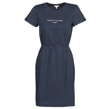 tekstylia Damskie Sukienki krótkie Tommy Hilfiger TH ESS HILFIGER REG C-NK DRS SS Marine