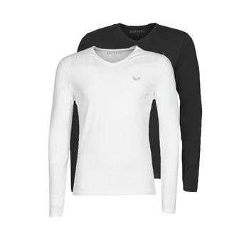 tekstylia Męskie T-shirty z długim rękawem Kaporal VIFT Czarny-biały