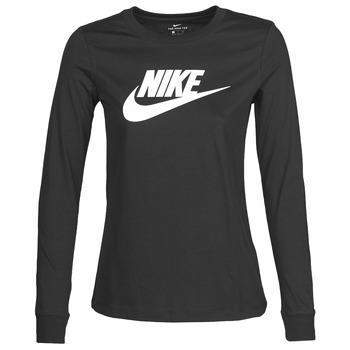 tekstylia Damskie T-shirty z długim rękawem Nike W NSW TEE ESSNTL LS ICON FTR Czarny