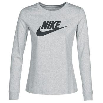 tekstylia Damskie T-shirty z długim rękawem Nike W NSW TEE ESSNTL LS ICON FTR Szary