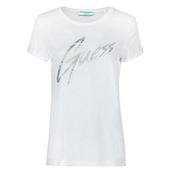 tekstylia Damskie T-shirty z krótkim rękawem Guess SS CN IVONNE TEE Biały