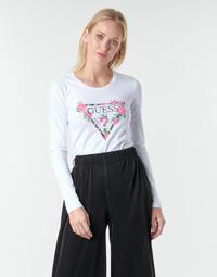 tekstylia Damskie T-shirty z długim rękawem Guess LS CN VILMA TEE Biały