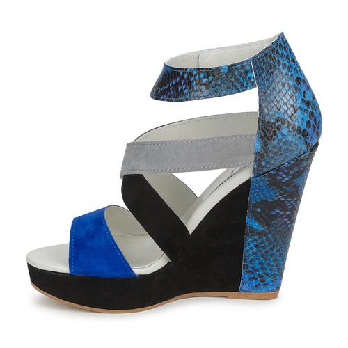 CARRY  Serafini  sandały  damskie  czarny / niebieski / szary