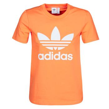 tekstylia Damskie Bluzy adidas Originals TREFOIL TEE Pomarańczowy