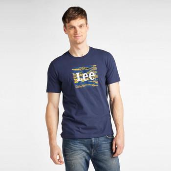 tekstylia Męskie T-shirty z krótkim rękawem Lee T-shirt  Camo Package Dark Navy bleu marine/jaune/blanc