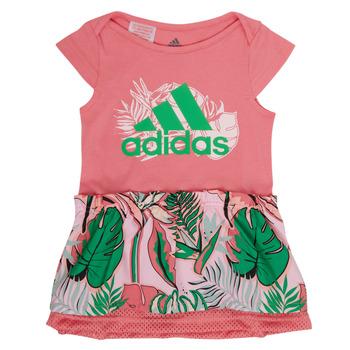 tekstylia Dziewczynka Sukienki krótkie adidas Performance FLOWER DRESS Różowy