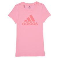 tekstylia Dziewczynka T-shirty z krótkim rękawem adidas Performance G BL T Różowy