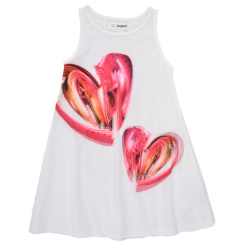 tekstylia Dziewczynka Sukienki krótkie Desigual 21SGVK12-1000 Biały