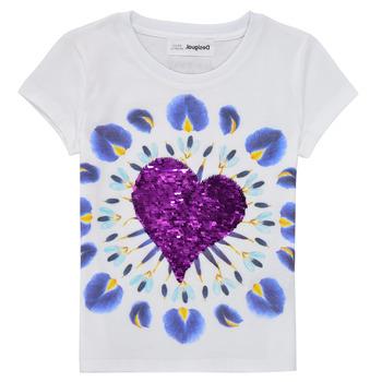tekstylia Dziewczynka T-shirty z krótkim rękawem Desigual 21SGTK45-1000 Biały