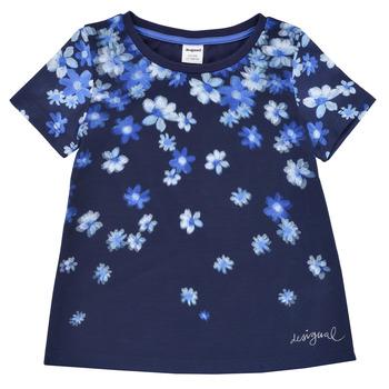 tekstylia Dziewczynka T-shirty z krótkim rękawem Desigual 21SGTK37-5000 Marine