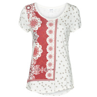 tekstylia Damskie T-shirty z krótkim rękawem Desigual ESTAMBUL Biały