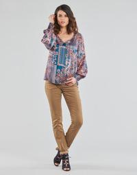 tekstylia Damskie Spodnie z pięcioma kieszeniami Cream LOTTE PRINTED Beżowy