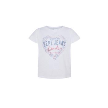 tekstylia Dziewczynka T-shirty z krótkim rękawem Pepe jeans PIPER Biały