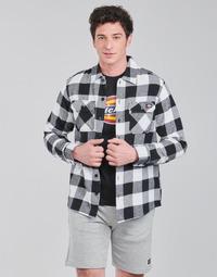 tekstylia Męskie Koszule z długim rękawem Dickies NEW SACRAMENTO SHIRT BLACK Czarny / Biały