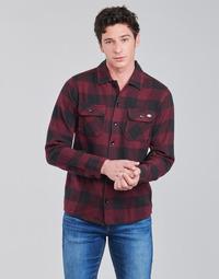 tekstylia Męskie Koszule z długim rękawem Dickies NEW SACRAMENTO SHIRT MAROON Bordeaux / Czarny