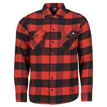tekstylia Męskie Koszule z długim rękawem Dickies NEW SACRAMENTO SHIRT RED Czerwony / Czarny