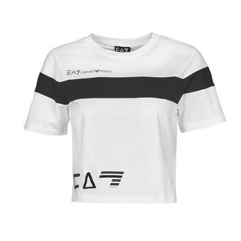 tekstylia Damskie T-shirty z krótkim rękawem Emporio Armani EA7 3KTT05-TJ9ZZ-1100 Biały / Czarny