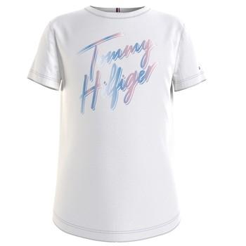 tekstylia Dziewczynka T-shirty z krótkim rękawem Tommy Hilfiger KG0KG05870-YBR Biały