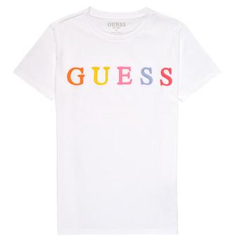 tekstylia Dziewczynka T-shirty z krótkim rękawem Guess H1RJ04-K8HM0-TWHT Biały