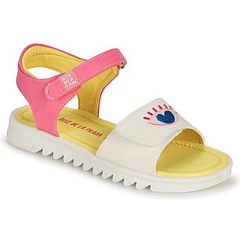 Buty Dziewczynka Sandały Agatha Ruiz de la Prada SMILEY Biały / Różowy