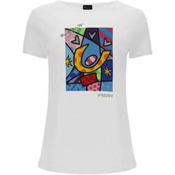 tekstylia Damskie T-shirty i Koszulki polo Freddy F0WBRT1 Biały