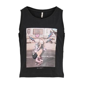 tekstylia Dziewczynka Topy na ramiączkach / T-shirty bez rękawów Only KONLANA Czarny