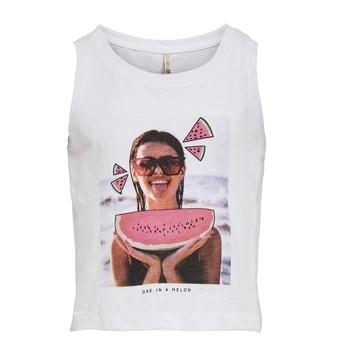 tekstylia Dziewczynka Topy na ramiączkach / T-shirty bez rękawów Only KONLANA Biały