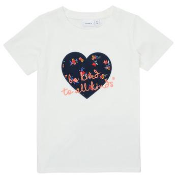 tekstylia Dziewczynka T-shirty z krótkim rękawem Name it NMFDELFIN TOP Biały