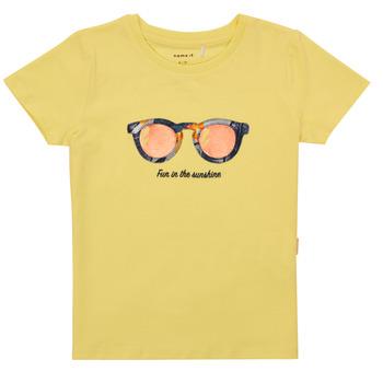 tekstylia Dziewczynka T-shirty z krótkim rękawem Name it NMFFISUMMER Żółty