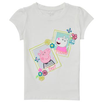 tekstylia Dziewczynka T-shirty z krótkim rękawem Name it PEPPAPIG Biały