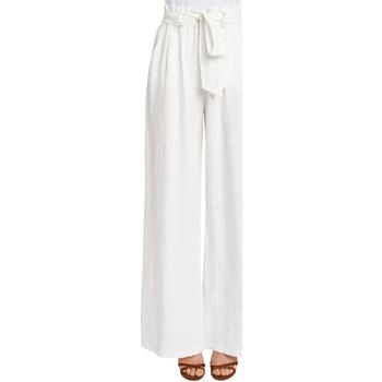 tekstylia Damskie Spodnie z lejącej tkaniny / Alladynki Gaudi 011FD25033 Biały